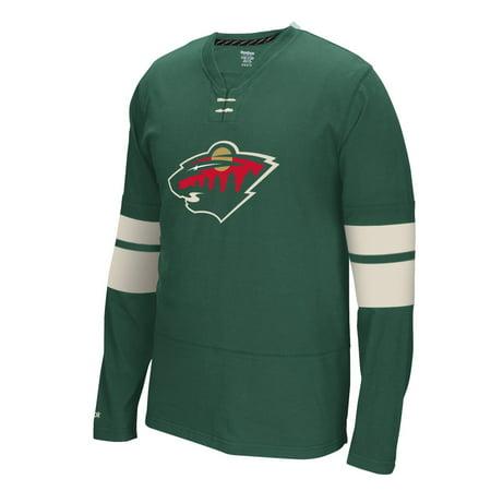 Minnesota Wild Reebok Nhl   Face Off   Long Sleeve Jersey Shirt
