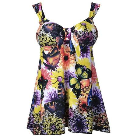 Pretty Plus Size Yellow Butterfly Print Swimdress Style Swimsuit Tankini Set