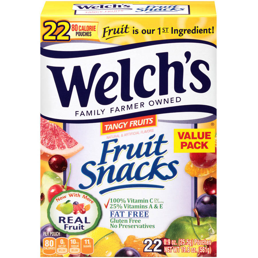 Welch's® Fruit Snacks, Tangy Fruits, 0.9 Oz, 22 Ct