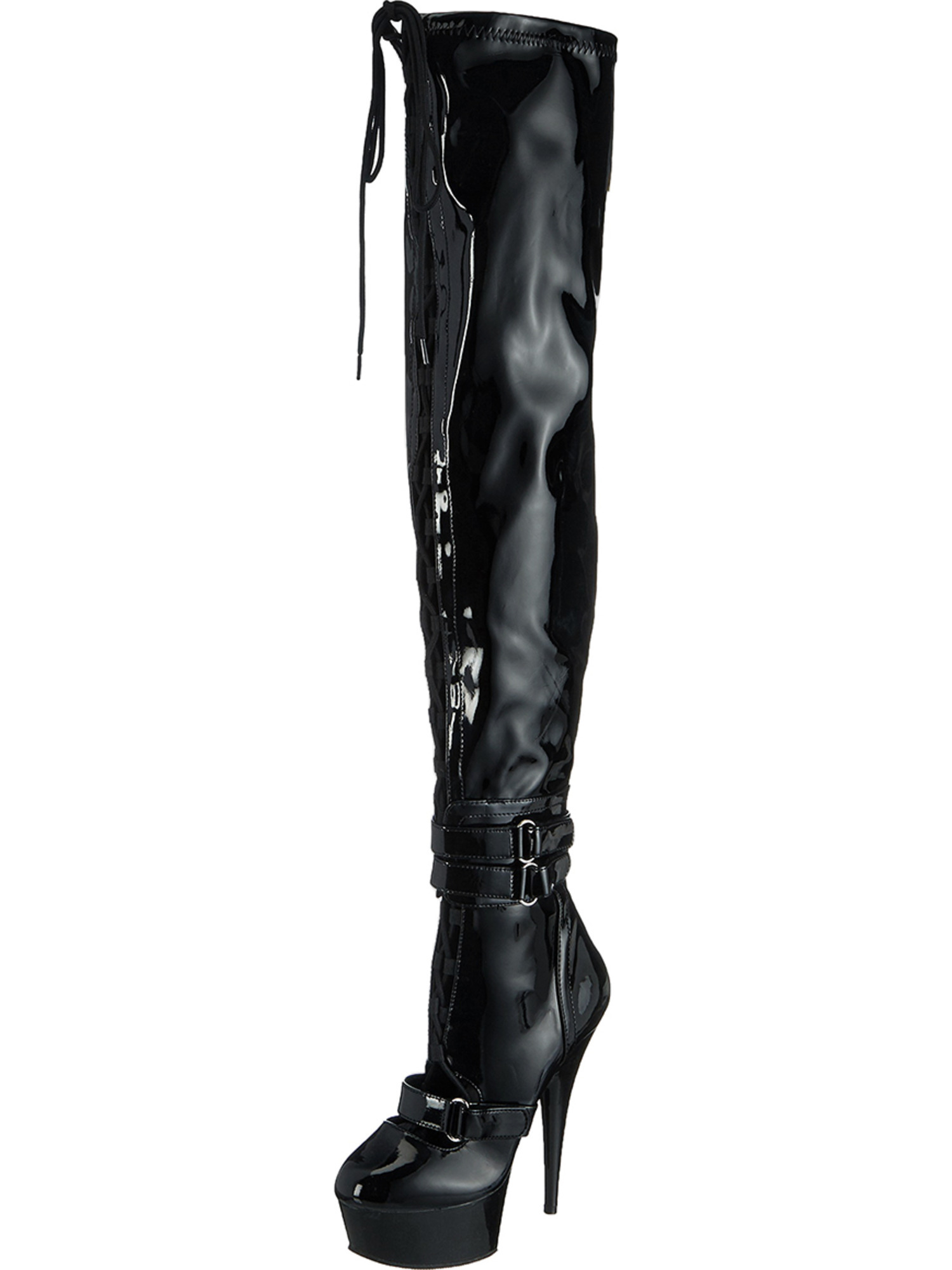 1ee6e04a39f SummitFashions - Womens Over the Knee Boots Black Patent Thigh Highs Lace  Up Straps 6 Inch Heels - Walmart.com