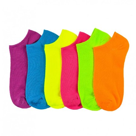 6 Pair Women Ankle Sports Socks No Show Low Cut Neon Fashion Casual Sports 9-11 - Long Neon Socks
