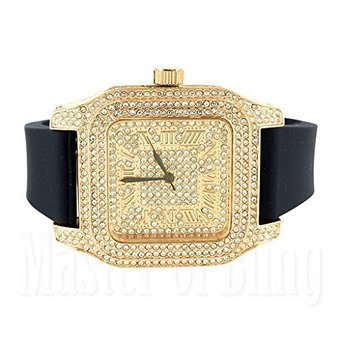 Techno Pave Watches For Men Rose Finish Lab Created Cubic Zirconia Silicone Black Band