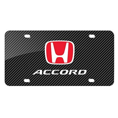 Honda Graphic Number Plate (iPick Image Black Carbon Fiber Look Graphic Metal License Plate - Honda Accord )