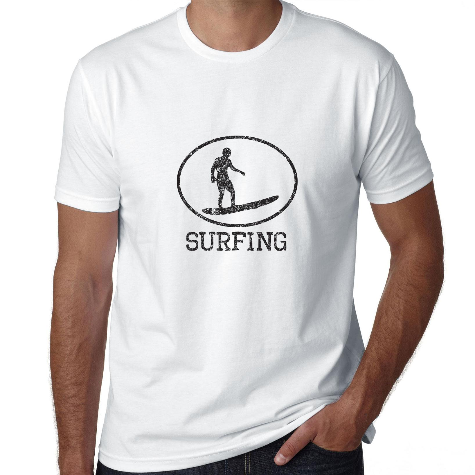 Surfing Surfer Riding Surfboard Iconic Silhouette Men's T-Shirt