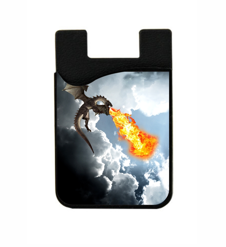 Fire Breathing Dragon Stick On Adhesive Black Silicon