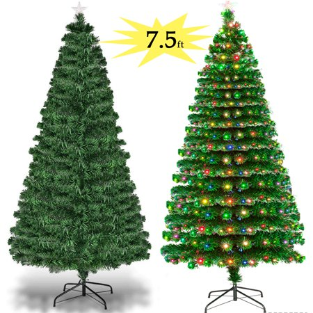 Zimtown 7.5FT Pre-Lit Artificial Christmas Tree Optical Fiber 7.5 FT with W/ - Zimtown 7.5FT Pre-Lit Artificial Christmas Tree Optical Fiber 7.5 FT