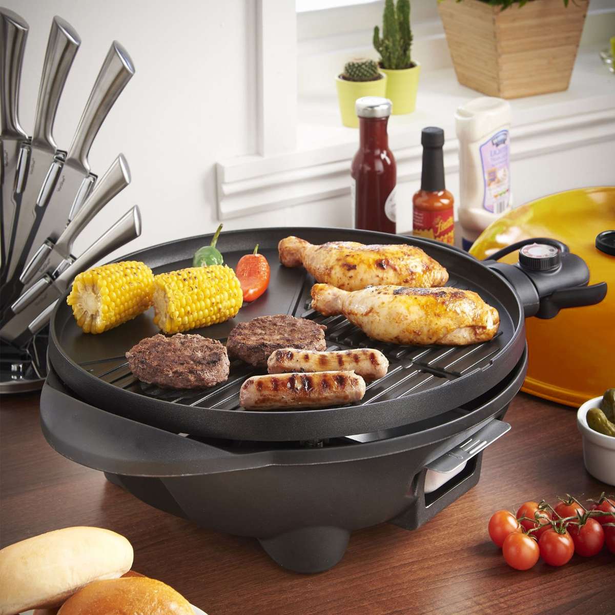 Excelvan Portable 1350W Electric BBQ Grill Easy to Clean, Black ...