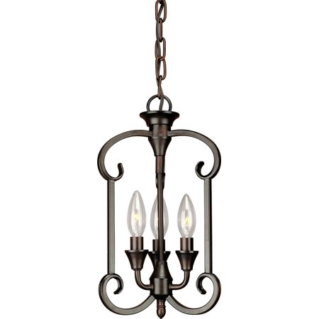 Forte Lighting Nickel Pendant - Forte Lighting 7000-03 Three Light Foyer Pendant