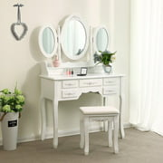 Ktaxon Dressing Table Makeup Desk Set 360°Rotation 3 Mirrors with 7 Drawers,Bedroom Vanity ,White