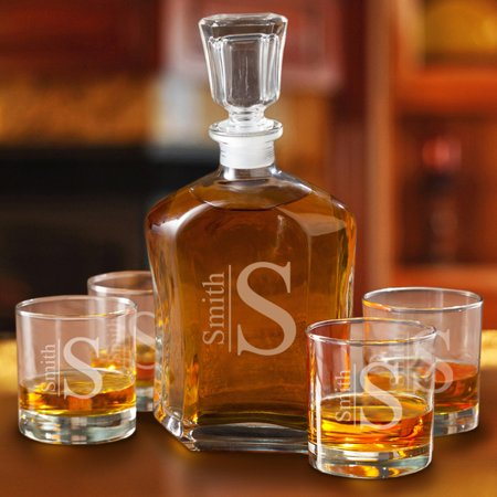 - Personalized Decanter set with 4 Low Ball Glasses
