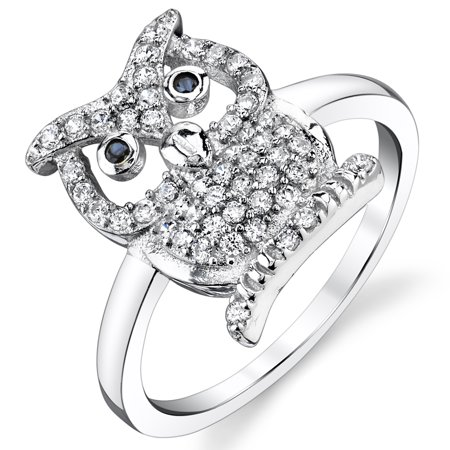 Sterling Silver Wise Owl Ring with Black and White Cubic Zirconia CZ
