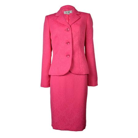 - Le Suit Women's Three Button Floral Jacquard Skirt Suit