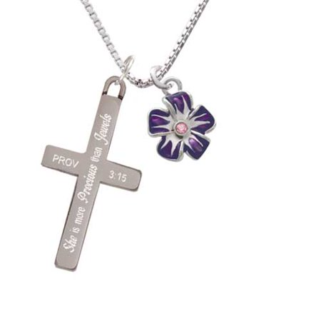 Purple and White African Violet Flower with Pink Crystal - She is More Precious - Cross Necklace