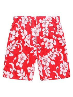 Hawaii Hangover Men's Swim Trunk in All Over Floral Print in Red XL