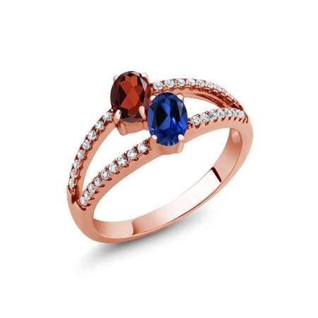 (1.41 Ct Garnet Simulated Sapphire Two Stone 18K Rose Gold Plated Silver Ring)