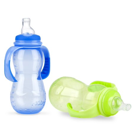 Nuby Neck Baby Bottle to Soft Spout Sippy Cup - 2 (Baby 2pk Sippy Cups)