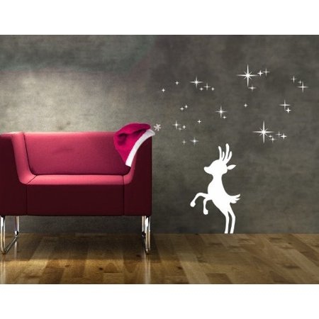 Reindeer III Wall Decal - Christmas wall decal, sticker, mural vinyl art home decor - 4103 - Gold, 24in x 24in