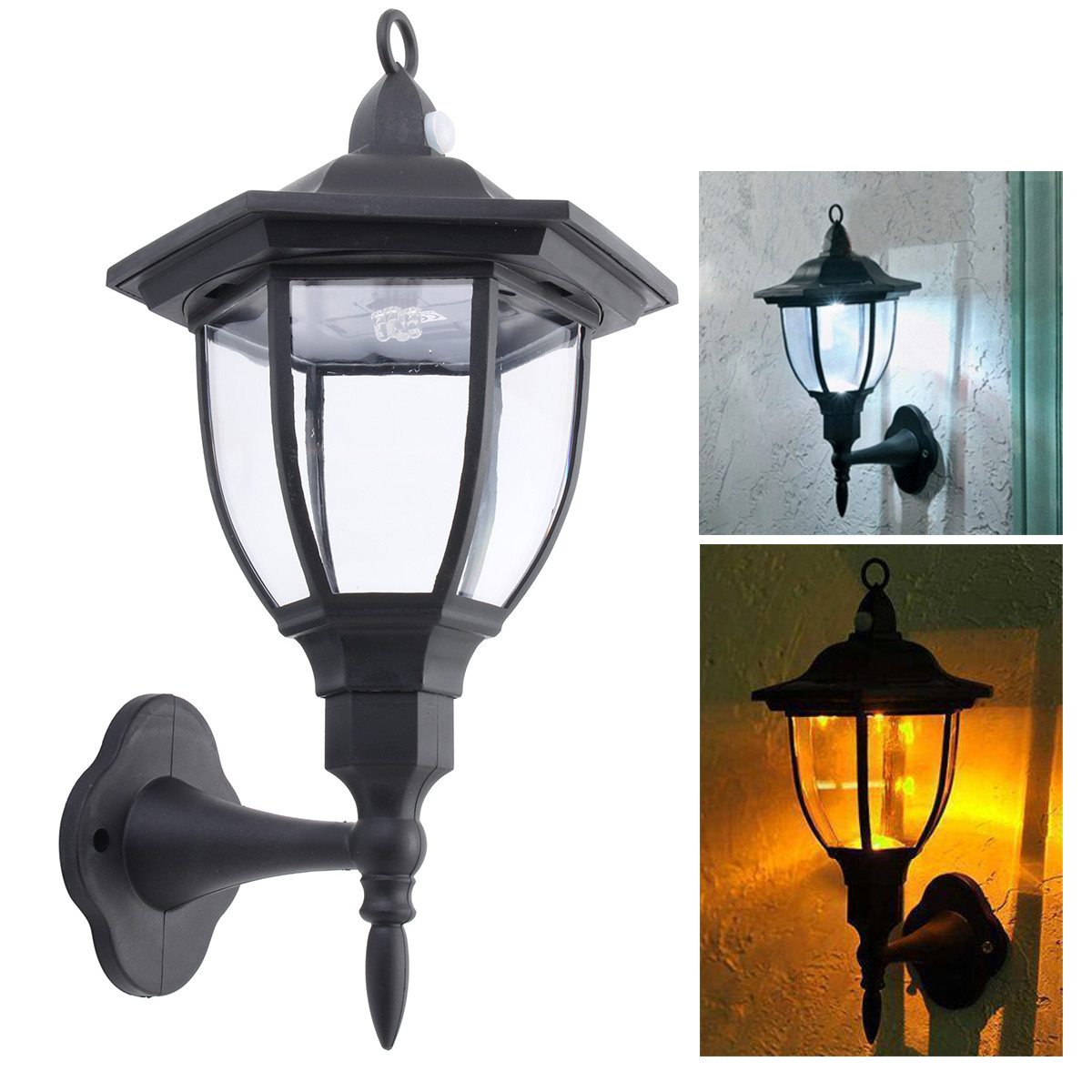 6 Sided Outdoor Wall Lantern Exterior Light Fixture Motion Sensor Garden Lamps
