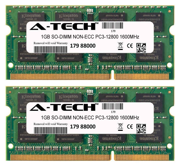 2GB Kit 2x 1GB Modules PC3-12800 1600MHz NON-ECC DDR3 SO-DIMM Laptop 204-pin Memory Ram
