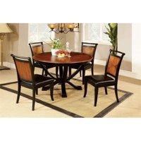 Furniture of America Leda 5-Piece Round Dining Set in Acacia and Black