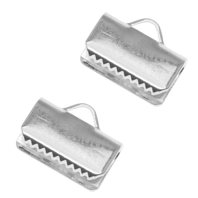 Silver Plated Ribbon Pinch Crimps Cord Ends 10mm or 3/8 Inch (20)