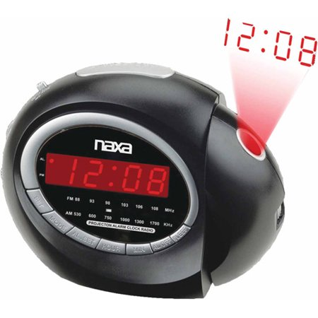 new naxa nrc 162 wall projection digital alarm clock with am fm radio snooze. Black Bedroom Furniture Sets. Home Design Ideas