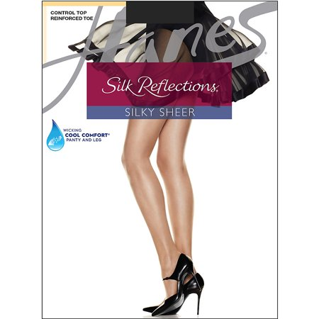 Womens Control Top Reinforced Toe Silk Reflections Panty Hose