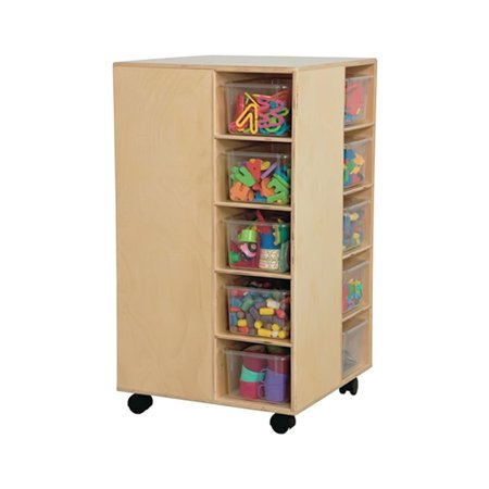 """Wood Designs WD6140 Baltic Birch Plywood Cubby Spinner with Translucent Trays 22x22x37"""" (H x W x D)"""