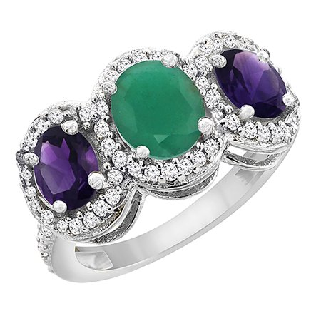 14K White Gold Natural Cabochon Emerald & Amethyst 3-Stone Ring Oval Diamond Accent, size 5.5