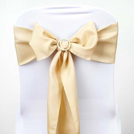 Efavormart 5 PCS Polyester Chair Sashes Tie Bows for Wedding Events Banquet Decor Chair Bow Sash Party Decoration Supplies - (Gold Wedding Mounting)