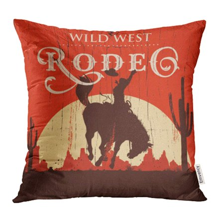 Rodeo Cowgirl Pillow (YWOTA Western Rodeo Cowboy Riding Wild Horse on Wooden Sign West Vintage Old Texas Retro Pillow Cases Cushion Cover 16x16)