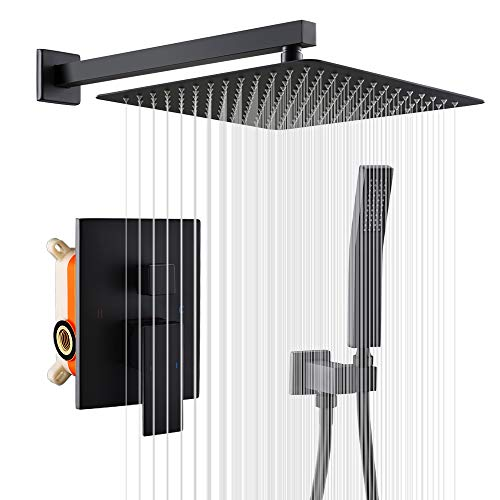 "8/"" Matte Black Rain Shower Combo Kits Set Celling Shower Head System Mixer Valve"