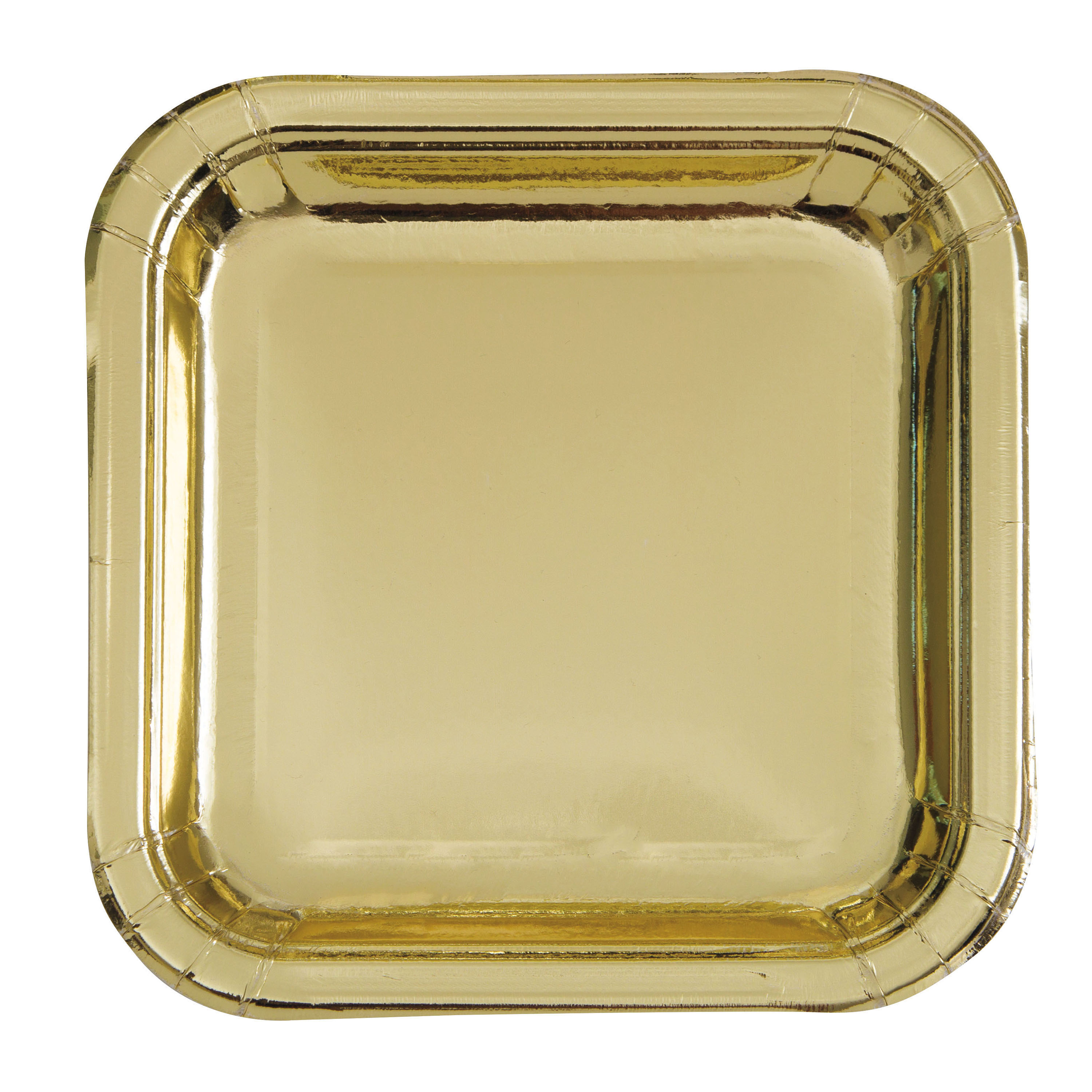 "9"" Square Foil Gold Party Plates, 8ct"
