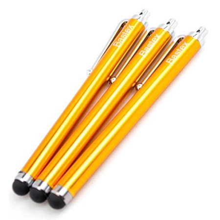 Bastex On the Go Pack of 3 Yellow Universal Stylus Touch Screen Pen for iPad iPhone Samsung Motorola LG