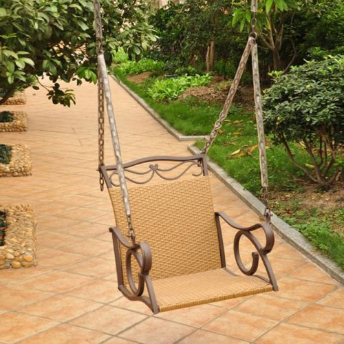International Caravan Resin Wicker Valencia Single Porch Swing Chair by