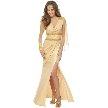 Sun Goddess Womens Roman Greek Gold Toga Adult Halloween Costume - Roman Goddess Halloween Costume