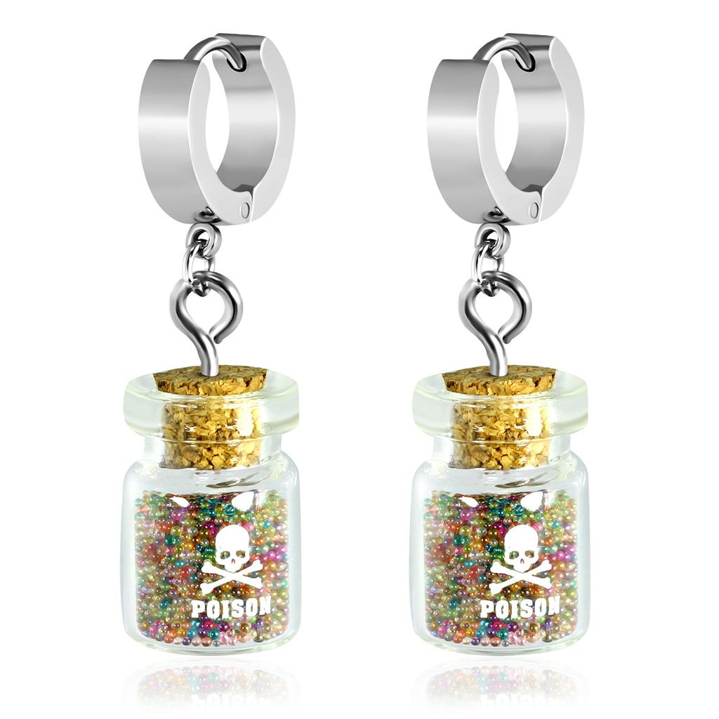 Stainless Steel Drop Hoop Huggie Earrings with Poison Glass Bottle Colorful Glitter Beads pair