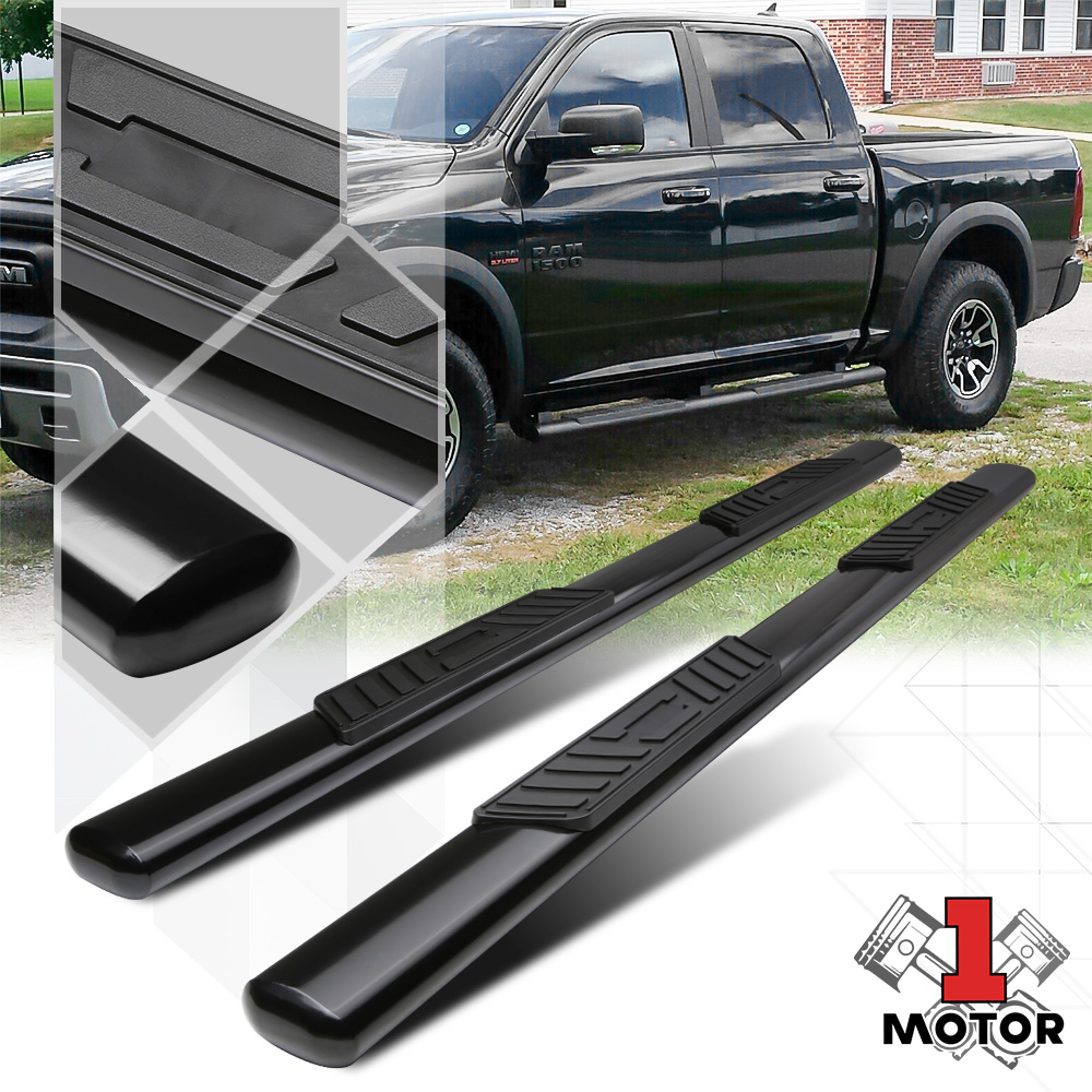 "FOR 09-15 DODGE RAM 4DR CREW CAB 5/"" BLACK OVAL SIDE STEP NERF BAR RUNNING BOARD"