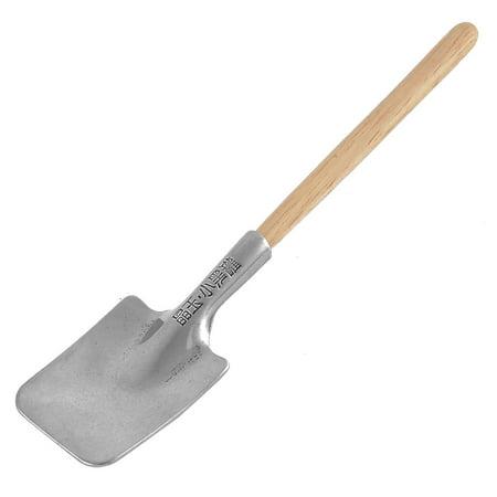 Home Garden Tool Wooden Handle Mini Digging Spade Shovel Silver Tone