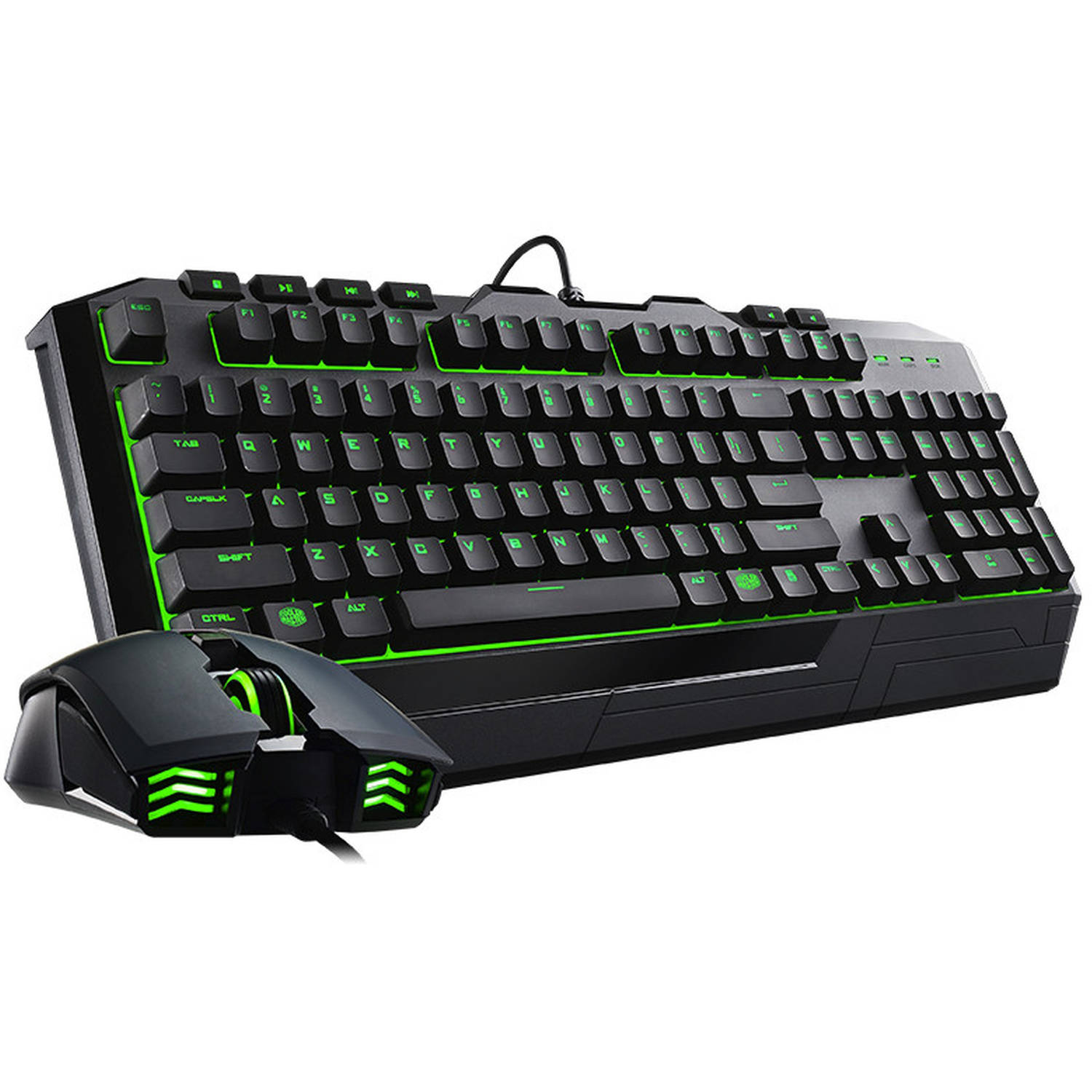 Cooler Master Devastator II SGB-3032-KKMF1-US Gaming Keyboard and Mouse Bundle, Green LED