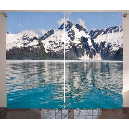Alaska Curtains 2 Panels Set, Aialik Bay Kenai Fjords Arctic Landscape Northern American Idyllic, Window Drapes for Living Room Bedroom, 108W X 108L Inches, Aqua Sky Blue Forest Green, by Ambesonne