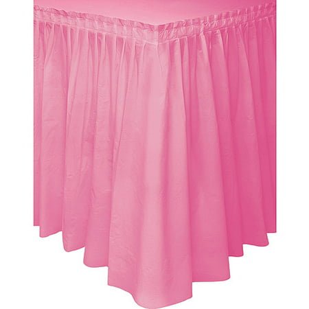 Hot Pink Plastic Party Table Skirt, 14ft - Table Fringe Skirt