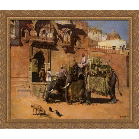 Elephants at the Palace of Jodhpore 34x28 Large Gold Ornate Wood Framed Canvas Art by Edwin Lord - Palace Elephants