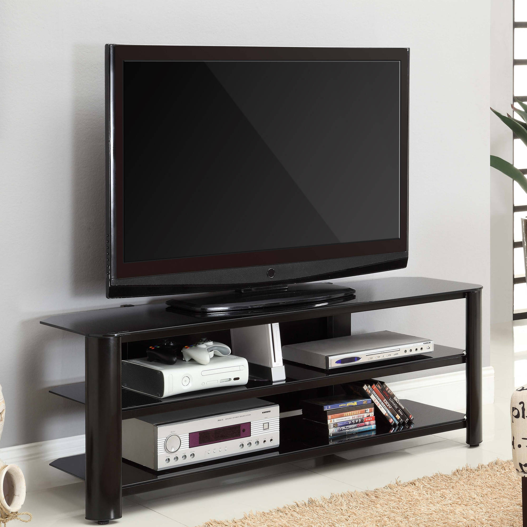 """Innovex Tempered Black Glass with Black Frame Oxford 58 TV Stand for TVs up to 60"""", Black"""