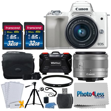 Canon EOS M50 Mirrorless Digital Camera (White) + 15-45mm Lens + More (Canon S95 Camera)