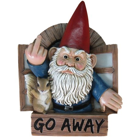 GO AWAY Grumpy Gnome & Squirrel Sign - Flipping You Off From Their Window