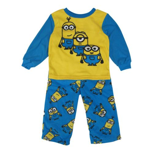 Minions Little Boys Yellow Blue Character Printed Pull On 2 Pc Pajama 3T