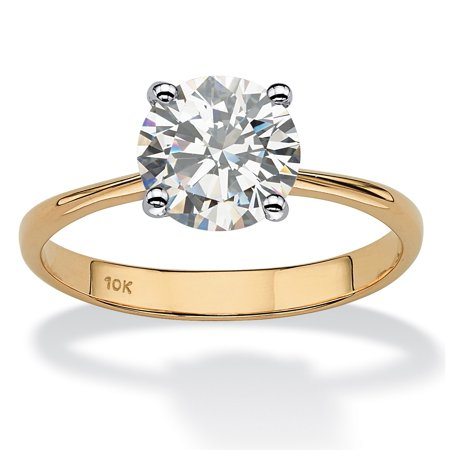 2.50-Carat Round Genuine Topaz 10k Yellow Gold Solitaire Bridal Engagement Ring
