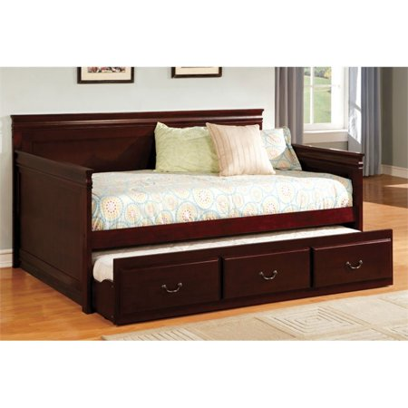 (Furniture of America Liam Twin Daybed with Trundle in Cherry)