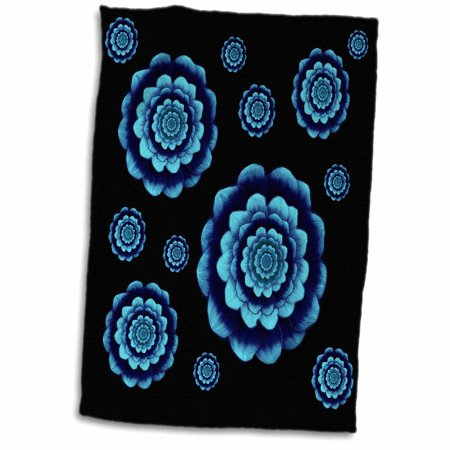 3dRose Turquoise and royal blue fantasy mandala flowers on black background - Towel, 15 by 22-inch](Royal Blue And Black)